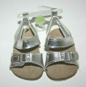 Carter's Silver Crib Sandals Baby Girl Shoes New NWT Size: 0-3 Months