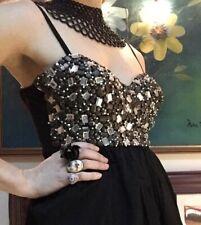 One Teaspoon Dress, Sz 10, Silk Blend, Diamanté's, Black/Copper/Silver/White