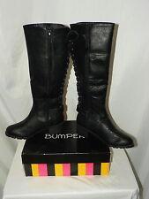 BUMPER RIDING BOOTS ZIP BACK LACE UP BLACK SIZE 5.5 TEKA06X
