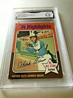 HANK AARON (HOF) 1975 Topps #1 Highlights GMA graded 5.5 EX+