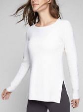 NWT Athleta Thermal Honeycomb Sweater, Dove SZ L            #870515  E101