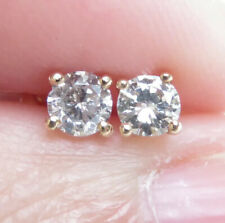 Sparkling Genuine 0.36ct Diamond Stud Earrings 16K Yellow Gold