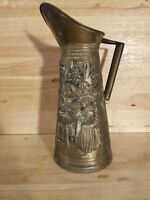 """Vintage Brass Large Pitcher Women Cooking Made In England 12"""""""