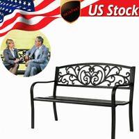 "50"" Patio Park Garden Bench Porch Chair Steel Frame Cast Iron Backrest"