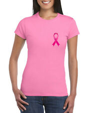 Pink Ribbon Ladies T-Shirt, October Breast Cancer Awareness Pink Gift Adults Top