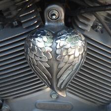 Aged Aluminum Angel Wing Heart Horn Cover - Harley Davidson - HRT-AW
