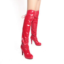 Chic Womens Patent Leather Block Platform High Heel Over Knee Thigh High Boots Q