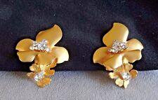 Vintage Runway Siman Tu Signed~Heavy Gold Plate~Austrian Crystal Orchid Earrings