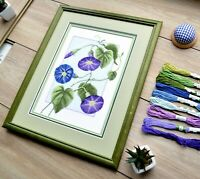 """""""Morning glory"""" Blue Flower Cross Stitch Kit for Beginners DIY Embroidery Set"""