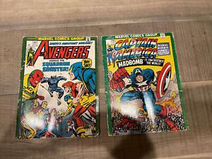Lot 2 MEAD MARVEL COMICS Avengers # 142 Captain America # 193 SCHOOL FOLDER 1975