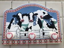 VTG B&D Japan Cows & Hearts Ceramic Kitchen Towel Rack Wall Hat Hanger Hooks