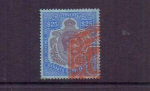 MALAYA - STRAITS SETTLEMENTS 1938 GVI $25 REVENUE USED