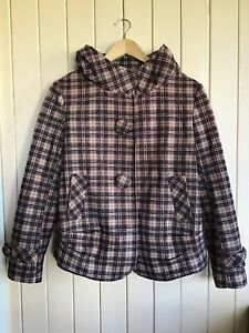 SUNSHINE Ombre Plaid Fully Lined Jacket. Size M. Covered Buttons. VG Preloved.