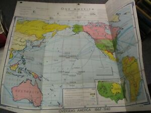 WA26 OVERSEAS AMERICA Denoyer-Geppert Large Folding Map Circa 1960s