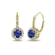 Created Blue Sapphire & White Topaz Leverback Earrings in Gold Plated Silver