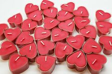 8 Heart Shaped Red Candle Clear Tea Lights Valentines Love Gift Girlfriend Bath