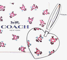 COACH Handbag Backpack Heart Charm Floral Printed Leather Boxed Ornament NWT
