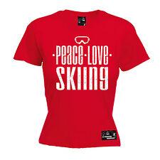 Peace Love Skiing Womens Powder Monkeez T-Shirt birthday gift skier snowboarding