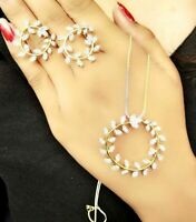 Gorgeous Art Jewelry Pendant Necklace Earring Stud Set AD Luxury Color Crystal