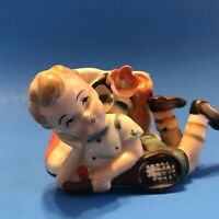 Vintage Little Boy Planter Pottery Collectible Mid Century Occupied Japan