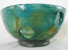 Niki Tie Studio Art Pottery Signed Bowl Hand Thrown Iridescent Green Turquoise