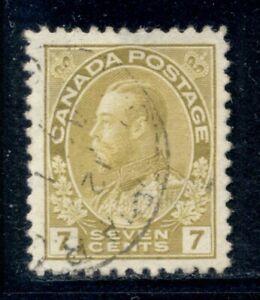CANADA 113 SG208 Used 1915 7c ol yel KGV Admiral Cat$4