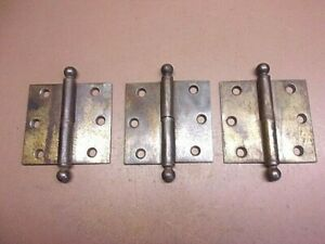 """Lot of 3 Cannonball Half-Hinges Door Hinges 3 1/2"""" x 3 1/2"""" Brass Flashed Steel"""