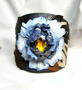 Adjustable Genuine Leather Flower Bracelet-Vintage Faceted Crystal Glass Stone
