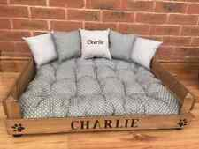 PERSONALISED PET BED AND CUSHIONS GREY SPOT  1 CUSHION IS EMBROIDERED FREE