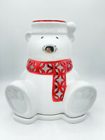 Slatkin Co Bath & Body Works Candle Luminary Polar Bear Red Scarf Large Ceramic