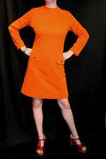 M Orange Wool Knit Vtg 60s MOD SCOOTER Kemington Express MILITARY Button Dress