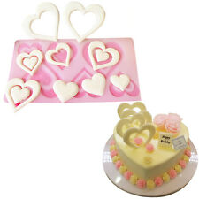 DIY 3D Heart Shape Chocolate Silicone Mold Cookie  Wedding Cake Toppers Tools CN