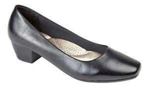 Ladies Plain Black Court Shoes Low Heel Work Office Size 3,4,5,6,7,8 UK