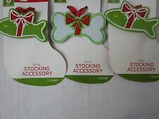 Tie on Christmas Stocking Accessories Set of 3 including Fish and Dog Bone #208