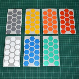 Reflective Hexagon Stickers - Motorbike Cycle Night Safety - Hi Vis - 10 Colours