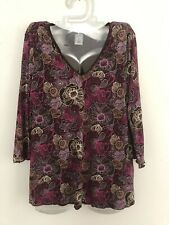 Old Navy XL Maternity Top V-Neck Nylon Lined Gauzey Brown Floral Stretch VGUC