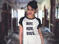 Wife. Mom. Boss. Baseball Style T-Shirt Slogan Tee Retro Funny Joke Mothers Day
