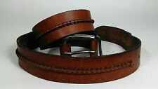 Men's Casual Genuine Leather Brown Belt Heavy Silver Color Buckle Size 40