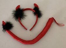Red Hot Devil Headband Hair Band Ear Tail Costume Fancy Dress Shiny New