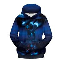 3D Pokemon Pocket Monster Umbreon Hoodie Sweater Cosplay Jacket Sweatshirts