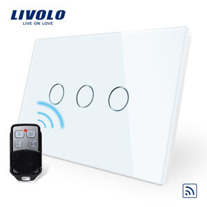 LIVOLO AU Standard White Touch Light,3Gang 2 way Remote Switch,free Controller