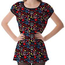 Symbols Of The Hippie Women Lady Puff Sleeve One Piece Dress b13 acc02462