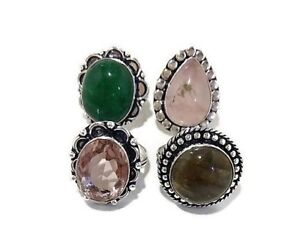 Wholesale Lot 4 Pcs. LABRADORITE & ONYX 925 Sterling Silver Plated Rings Jewelry