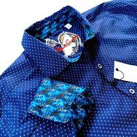Robert Graham Geometric Indigo Check Print Navy Blue Mens Sports Shirt $198