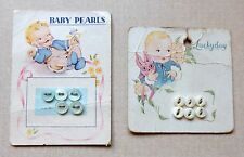 Vintage Baby Buttons on Cards Luckyday & Baby Pearls Beautiful Pictures
