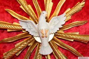 Holzfigur Heiliger Geist Strahlenkranz mit Taube 32cm Heiligenfigur aus Südtirol