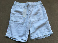 Next Womens Mid Rise Linen Shorts in Green Navy White Ladies NEW