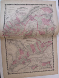 Hand Colored Map Johnson's Atlas Upper Lower Canada Canadian Montreal 1863