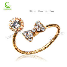 Wholesale Lots 5pcs Exquisite Crystal Rhinestone Gold filled woman Rings FREE
