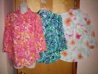 NWT womens size XS pink blue green white CROFT & BARROW 3/4 sleeve shirt $30